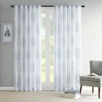 Madison Park Genia 84-Inch Rod Pocket/Back Tab Sheer Branch Flocking Window Curtain Panel in Aqua