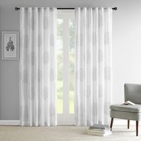 Madison Park Genia 95-Inch Rod Pocket/Back Tab Sheer Branch Flocking Window Curtain Panel in Grey