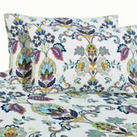 Paisley Print 200 GSM Deep-Pocket California King Flannel Sheet Set in White
