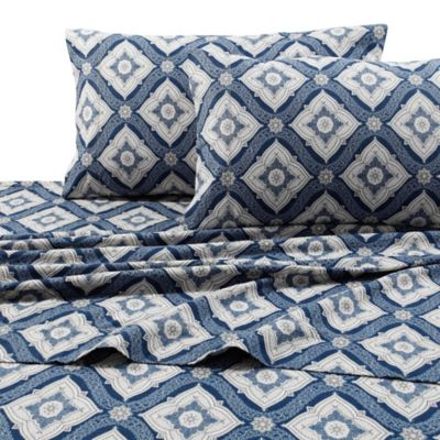 damask print 200 gsm deeppocket queen flannel sheet set in navy - Flannel Sheets Queen
