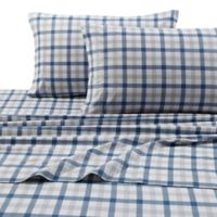 Micro Plaid Print 200 GSM Deep-Pocket Queen Flannel Sheet Set in Blue/Green