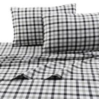 Micro Plaid Print 200 GSM Deep-Pocket King Flannel Sheet Set in Black/Grey