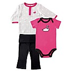 BabyVision® Yoga Sprout Size 9-12M 3-Piece Swan Jacket, Bodysuit and Pant Set in Pink/Black