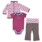 BabyVision® Size 12-18M Yoga Sprout 3-Piece Lotus Jacket, Bodysuit and Pant Set in Purple
