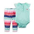 carter's® Size 6M 2-Piece Heart Bodysuit and Striped Pant Set in Green