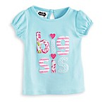 "Mud Pie® Size 24M Short Sleeve ""Big Sis"" Appliqued T-Shirt in Aqua/Pink"