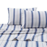Tribeca Living 170 GSM Print Flannel Deep Pocket Twin Sheet Set in Blue