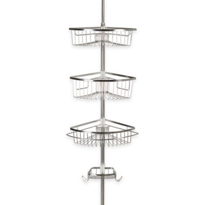 rivercrest tension corner shower caddy in stainless steel