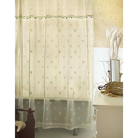 buy heritage lace sand shell shower window curtain panel and valance set in ecru from bed bath