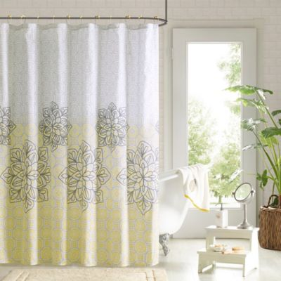 Jessica Shower Curtain and Hook Set in Yellow Buy Bathroom Curtains Sets from Bed Bath  Beyond