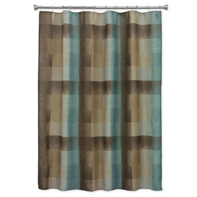 Blue and Brown Bathroom Curtain