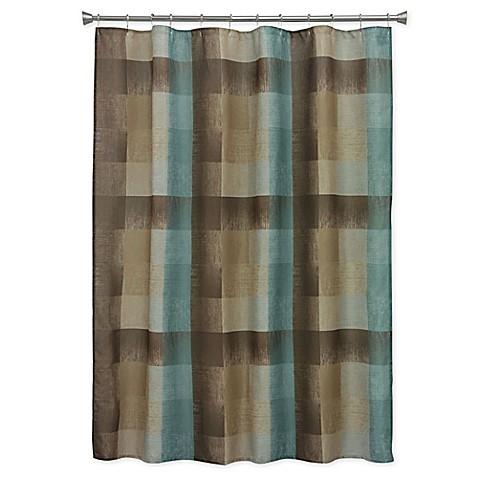 Bacova Fresh Flannel Shower Curtain In Brown Blue Bed