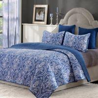 Verona Reversible Full/Queen Quilt Set in Blue