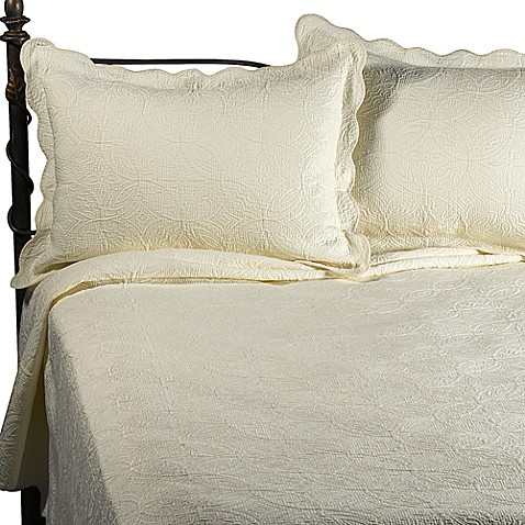 Matelasse Coventry Ivory Quilt Set 100 Cotton Bed Bath