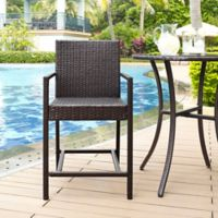 Crosley Palm Harbor Outdoor Wicker Patio Bistro Stool in Brown (Set of 2)