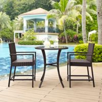 Crosley Palm Harbor 3-Piece Outdoor Wicker Patio Bistro Set in Brown