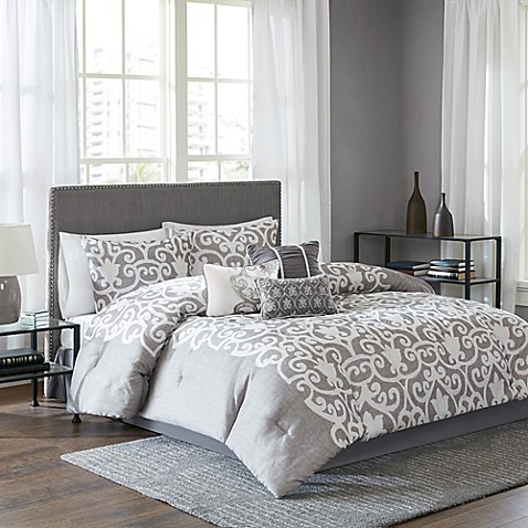 Lotus comforter set in grey white bed bath beyond - Bed bath and beyond bedroom furniture ...