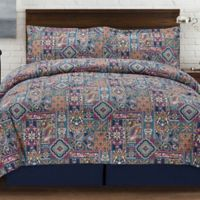 Tao Reversible Queen Duvet Cover Set in Navy