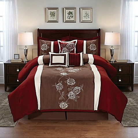 Floral 7 piece comforter set in burgundy brown bed bath for Burgundy and gold bedroom designs