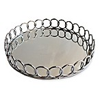 American Atelier Round Mirror Looped Metal Tray in Silver