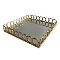 American Atelier Square Mirror Looped Tray in Gold