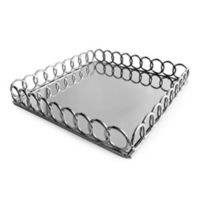 American Atelier Square Mirror Looped Tray in Silver