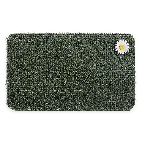 Gentil 18 Inch X 30 Inch Daisy Door Mat In Evergreen