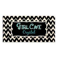 "Watercolor Chevron ""Girl Cave"" Canvas Wall Art"