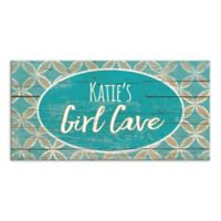 Girl Cave Blue and Cream Canvas Wall Art