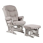 Dutailier® Ultramotion Sleigh Glider and Nursing Ottoman in White/Light Grey