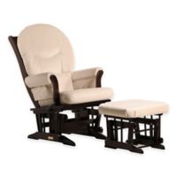 Dutailier® Ultramotion Multiposition Sleigh Glider and Ottoman in Espresso/Light Beige