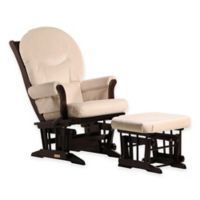 Dutailier® Ultramotion Round Back Sleigh Glider and Ottoman in Espresso/Light Beige