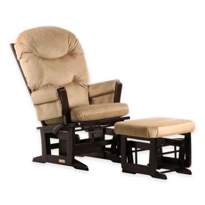 Dutailier® Ultramotion Round Back Modern Glider And Nursing Ottoman In  Espresso/Light Brown