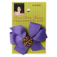 Donna Devlin Designs® Wild Thing Elastic Pet Bow in Purple/Cheetah