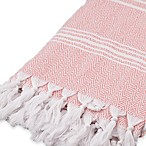 Traditional Turkish Cotton Pestemal Bath Sheet in Pink/White