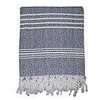 Traditional Turkish Cotton Pestemal Bath Sheet in Blue/White