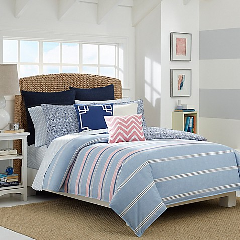 nautica destin reversible comforter set in light blue. Black Bedroom Furniture Sets. Home Design Ideas
