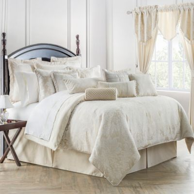 waterford linens paloma reversible king comforter set in ivory
