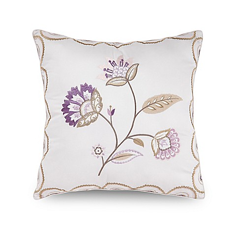 Embroidery Cream Decorative Pillows : Downton Abbey Crawley Flower Embroidered Square Throw Pillow in Cream - Bed Bath & Beyond