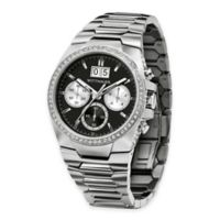 Wittnauer Men's 41mm Crystal-Accented Chronograph Watch in Silvertone Stainless Steel