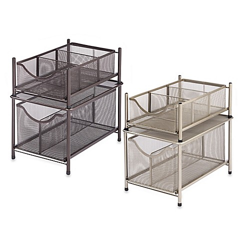 Org Under The Sink Mesh Slide Out Cabinet Drawer Bed