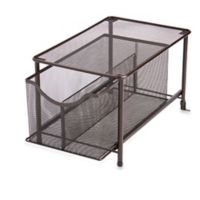 .ORG Large Under the Sink Mesh Slide-Out Cabinet Drawer with Shelf in Bronze