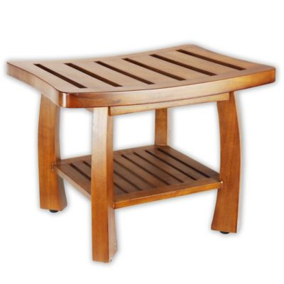 Solid Wood Spa Shower Bench With Storage Shelf In Teak