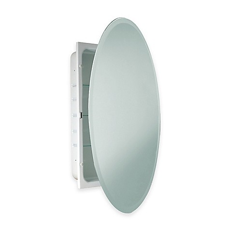 Buy Oval Beveled Recessed Mirrored Medicine Cabinet In White From Bed Bath A