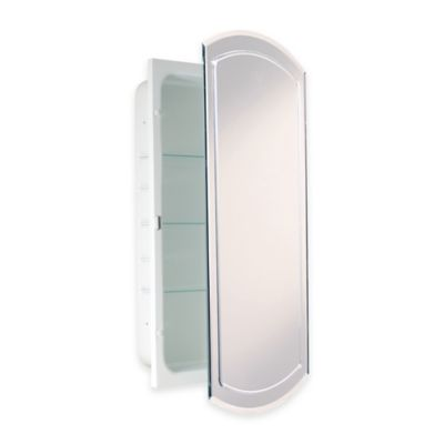 Recessed V Groove Beveled Recessed Mirrored Medicine Cabinet In White
