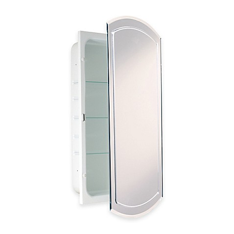 Recessed V Groove Beveled Recessed Mirrored Medicine Cabinet In White Bed B
