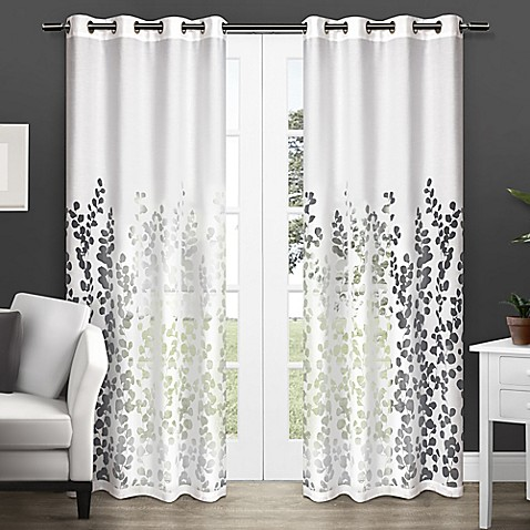 Wilshire 84 inch sheer grommet top window curtain panel pair in white