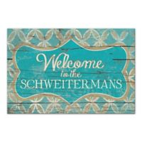 Distressed Welcome Sign Canvas Wall Art in Blue