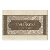 Damask Welcome Sign Canvas Wall Art in Brown
