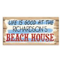 """Life Is Good"" Beach Sign Canvas Wall Art"